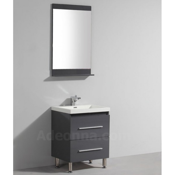 meuble de salle de bains simple vasque gris laqu en 600 mm tahoma. Black Bedroom Furniture Sets. Home Design Ideas