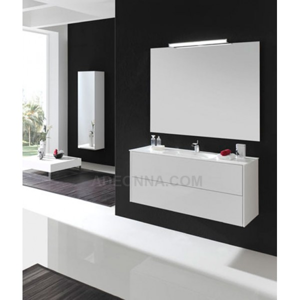 meuble salle de bain design suspendre 110 cm blanc laqu. Black Bedroom Furniture Sets. Home Design Ideas